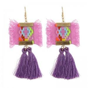 Wholesale Fashion Jhumka Tassel Earrings Handmade Embroidery Bridal Earrings For Women