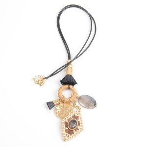WENZHE Wooden Rattan Weave Pendant Black Cord Necklace