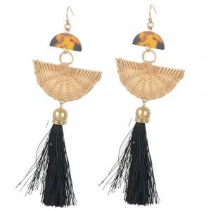 WENZHE New Arrival Gold Plated Fan Shaped Rattan Weave Black Tassel Drop Earring