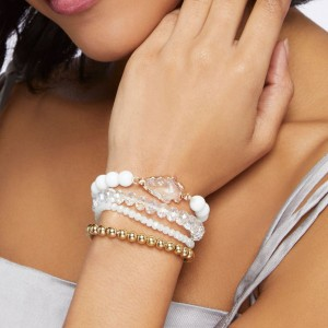 FASHION Bracelet Multi Color Stretch Beaded Stackable Bracelets Layering Bead Strand Statement Bangles