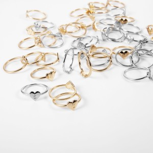 WENZHE Simple 26 letter gold silver alloy finger ring