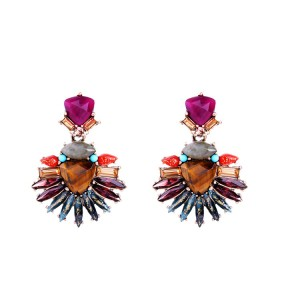 Factory Wholesale Baroque Style Retro Luxury Colorful Gemstone Natural Stone Earring for Women