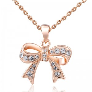 Crystal diamond AAA Zircon Pave Lock Key Pendant Necklace Rose Gold Plating Fashion Jewelry