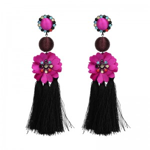 Fashion China Wholesale Ladies Jewelry Crystal Flower Cotton Tassel Earring Designs Earrings for Women