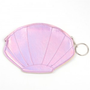 WENZHE Pink Shell Shape PU Leather Lady Mini Coin Purse