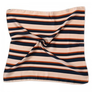 WENZHE Wholesale Fashionable New Design Custom Stripe Pattern Small Square Hair Silk Scarf For Women
