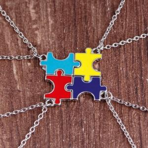 Fashion best friends gift 4pcs colorful oil drop puzzle pendant necklace