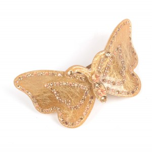 WENZHE Wholesale Hair Accessories Cellulose Acetate Acrylic Rhinestone Butterfly Hair Clips For Women