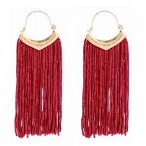Personality braided tassel earrings fashion Bohemian style tassel hook earrings