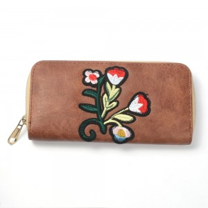 WENZHE Wholesale New Fashion Floral Flower Embroidery Wallets Women Embroidery Purse