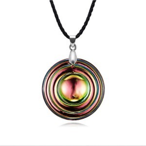 Fashion Simple Punk Tide Clavincle Chain Green Bright Color Round Crystal Pendant Necklace