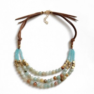 WENZHE Layered Stone Bead Necklace Brown Suede Boho Chunky Natural Stone Necklace