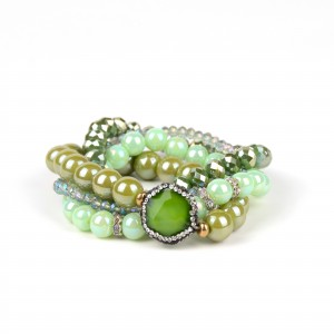 4pcs/set Designer Fashion Green Crystal Leave Beads Bracelet Bangles Multilayer Bracelet for Women