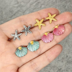 Fashion Beach Jewelry 4 Pairs Seashells Starfish Stud Earrings Set For Women