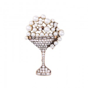 Bridal Brooch Pin Wineglass Goblet Rhinestone Pearl Spring Brooch High Quality