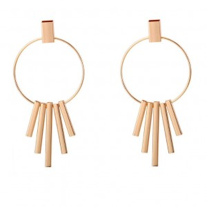 New product simple geometric metal long tassel earring jewelry gold earring