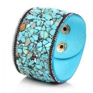 New punk wide leather bracelets natural crystal gravel multicolor bracelet Paris fashion model show bracelet