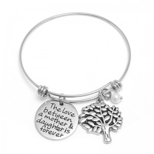 Fashion Custom Engraved Tree of Life Bracelet Stainless Steel Bangle Bracelet for mother's gift