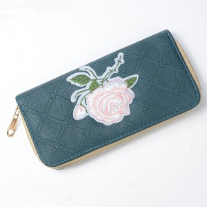 WENZHE New Style Women Long Clutch Flowers Embroidery Cash Wallet PU Leather Card Purse