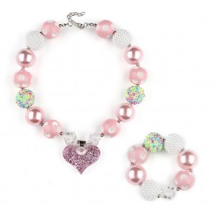 Unique gift ideas bubble bead chunky necklace set kids heart charm fashion jewelry sets