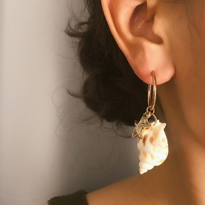 WENZHE Simple Conch Starfish Drop Hoop Earrings