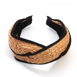 WENZHE European and American Raffia hand-woven headband bow knotted rattan headband