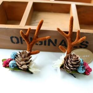 Fashion Design Handmade Antler Hairclips Christmas Pine Cones Hairclip For Children