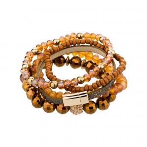 Bohemian Crystal Gem Colorful Stretch Bead Multilayer Bracelet Stack of 5 for Women