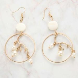Fashion gold geometric big hoop inner branch dangle pearl earrings