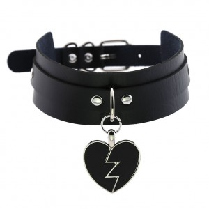 Harajuku Rock Lightning Heart Pendant Collar Choker Heartbreaking Love Double Leather Choker