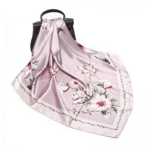 WENZHE Silk Scarf Large Square Satin Headscarf Fashion Pattern Hair Neck Scarfs for Women Flower Design Scarf