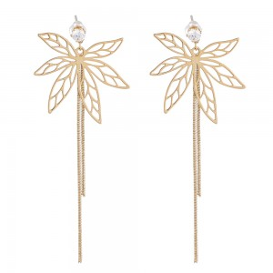 WENZHE Autumn and winter copper hollow maple leaf earrings long tassel metal earrings