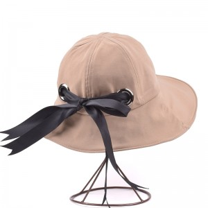 WENZHE Summer Cotton Sun Visor Hat Foldable Bucket Hat With Bow
