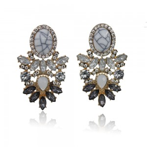 Wholesale Women Fashion Earrings Jewelry Crystal Rhinestone White Turquoise Earrings