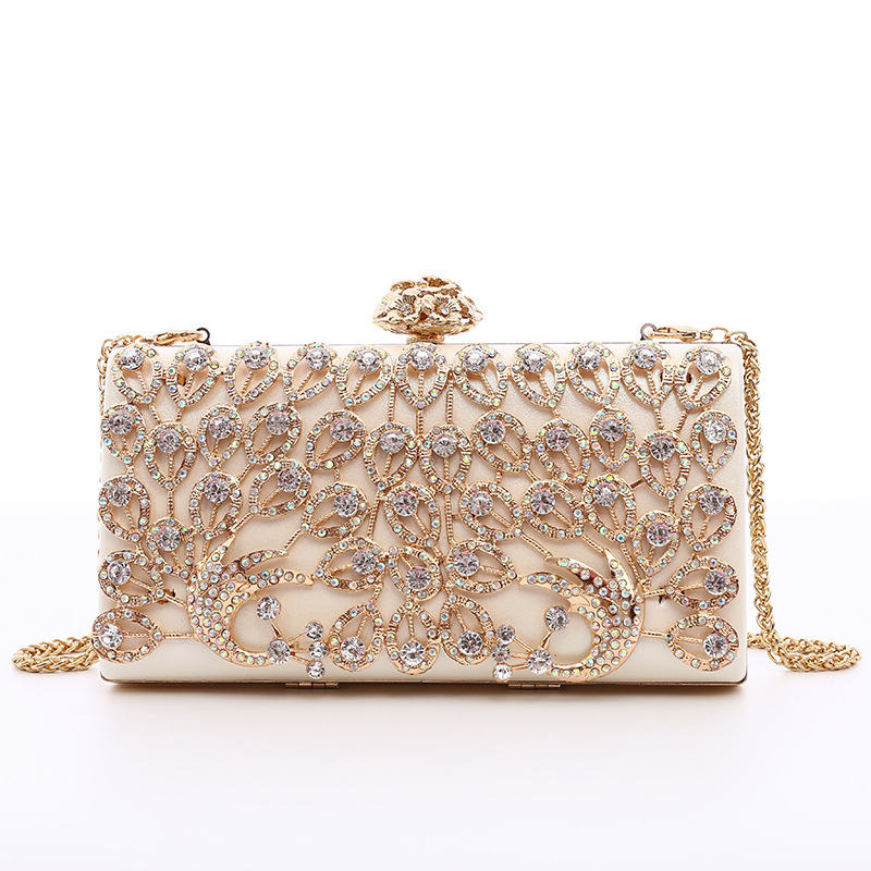 WENZHE New ladies fashion diamond peacock banquet party small square handbag Featured Image
