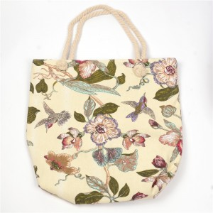 WENZHE Hot Selling Flower Organic Portable Linen Cotton Canvas Reusable Grocery Shopping Tote Bags