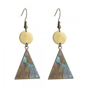 WENZHE Vintage Geometric Triangle Earrings Natural Old Metal Drop Earrings