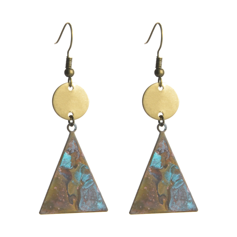 WENZHE Vintage Geometric Triangle Earrings Natural Old Metal Drop Earrings Featured Image