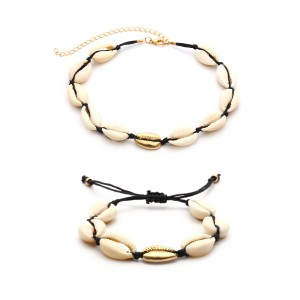 WENZHE Hot Style Jewelry Set Natural Shell Handmade Bracelet Necklace Jewelry Sets for Women