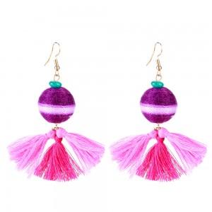 New Arrival Tassel Earrings Bohemian Fashion Turquoise Bead Thread Ball Tassel Drop Earrings