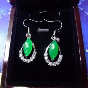 Wholesale Silver Rhodium Plated Jade Quartz Fashion Earrings
