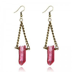 Latest New Products Geometric Triangle Multicolor Crystal Natural Stone Earrings
