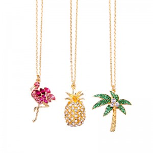 INS Style Flamingo Pink Crystal Pendant Necklaces Pineapple Pendants Jewelry