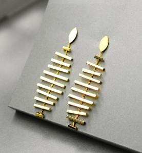 Unique fish bones shape dangle long chain gold new designs korean earring