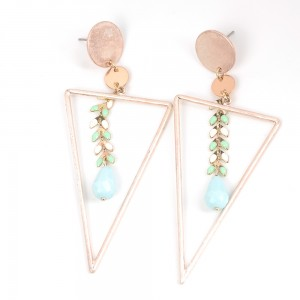 WENZHE Gold Plated Triangle Tassel Earring