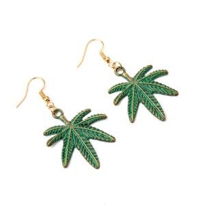 Fashion Gold Plated Alloy Eardrop Women Leaf Shape Earrings