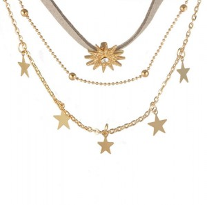 Lady Accessory Most Popular Gold Plated Star Pendant Multilayered Necklace for Women