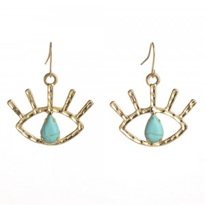 WENZHE New Arrival Gold Plated Turquoise Eye Dangle Hook Earring Women Jewelry
