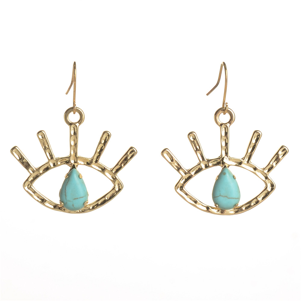 WENZHE New Arrival Gold Plated Turquoise Eye Dangle Hook Earring Women Jewelry Featured Image