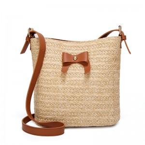 WENZHE Women Daily Shoulder Bag Beach Tote Bag Leather Shoulder Strap Straw Bucket Handbag